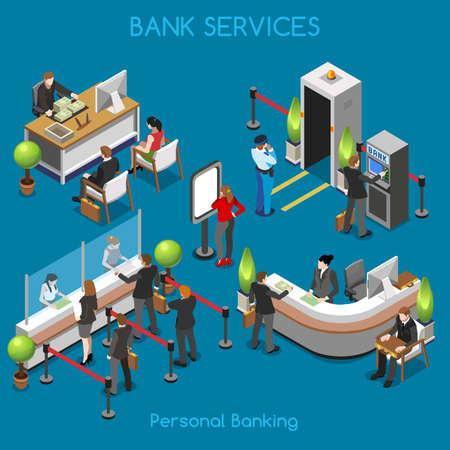 Bank Office Building Floor Interior Detail Elements. Interacting People Unique Isometric Realistic Poses. NEW bright palette 3D Flat Vector Isometric Set. Counter vault cashdesk currency exchange 일러스트