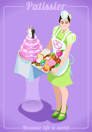 exhibitor: Female Young Girl with Wedding Cake Sweets Candies Cupcake. People Unique Isometric Realistic Poses. NEW bright palette 3D Flat Vector Icon Set. Bakery Pastry Products Food and Confectionery Services