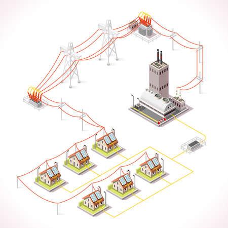 Concept d'infographie de chaîne de distribution d'énergie électrique. Éléments 3d isométriques du réseau électrique Centrale électrique alimentant les bâtiments et les maisons de la ville en électricité