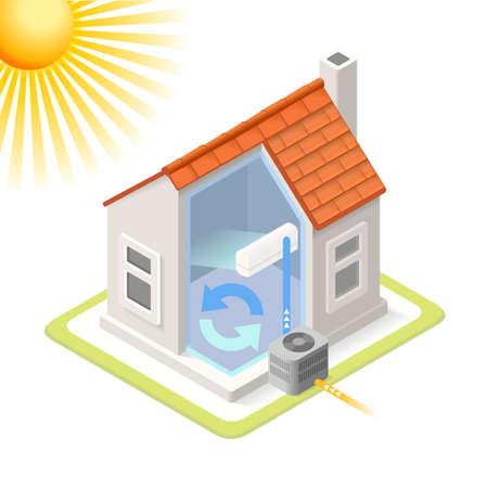 열 펌프 하우스 시스템 인포 그래픽 아이콘 개념을 냉각. 아이소 메트릭 색상 요소를 부드럽게 차원. 에어컨은 차트 계획의 그림을 제공하는 쿨