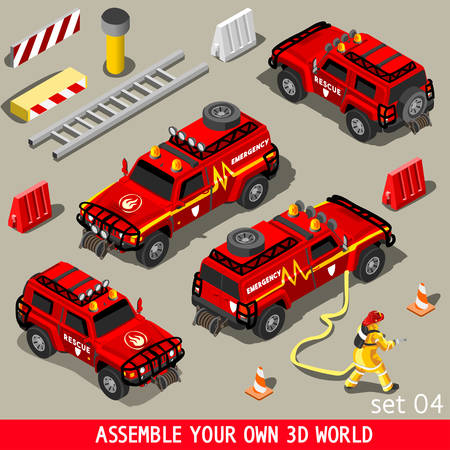 assemble: Fireman Flame Red Rescue SUV Vehicle. NEW bright palette 3D Flat Vector Icon Set. First Aid Equipment and Firefighter to Stop Arson. Assemble your Own 3D World