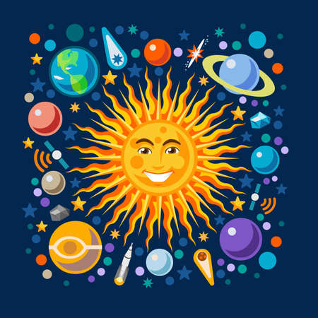 new horizons: New Horizons of the Solar System Infographic. NEW bright palette 3D Flat Vector Icon Set Planets Pluto Venus Uranus Jupiter Saturn Universe Around the Smiling Happy Sun Concept