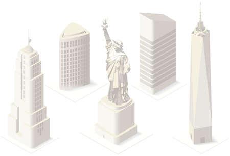 edificios: NYC Estatua de la libertad y de Monumentos hist�ricos 3D isom�trico plana Landmark Nueva York Manhattan Usa Edificios Mapa elementos de dise�o de la bandera Plantilla Web Maqueta Ilustraci�n Concepto