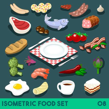 Heel wat op mijn bord. Modulaire Voedsel Elements Street Food Diet NEW heldere palette 3D Flat Vector Icon Set Isometrische Restaurant Fastfood Bistro Infographic Concept Web Template. Coffee Garnalen Chilli tomaat
