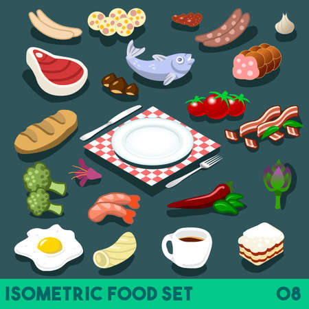 A Lot on my Plate. Modular Food Elements Street Food Diet NEW bright palette 3D Flat Vector Icon Set Isometric Restaurant Fastfood Bistro Infographic Concept Web Template. Coffee Shrimps Chilli Tomato