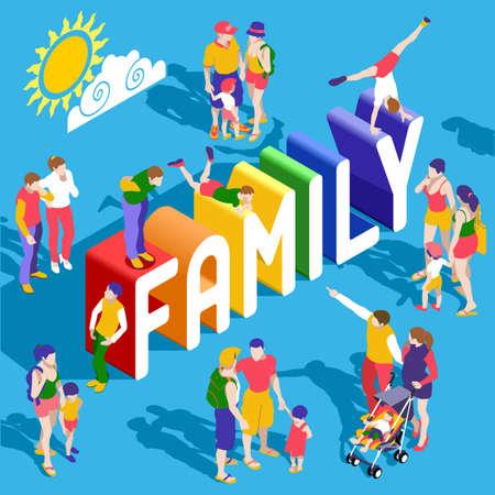 虹家族のライフ スタイルの相互作用の人々 ユニークな等尺性現実的なポーズします。新しい明るいパレット 3 D 平面ベクトルのアイコンを設定しま  イラスト・ベクター素材