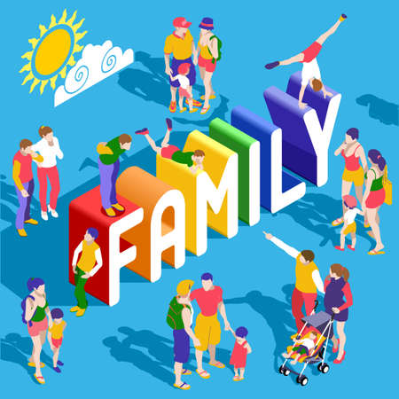 Rainbow Family Lifestyle Interacting People Unique Isometric Realistic Poses. NEW bright palette 3D Flat Vector Icon Set. Extended Family Parents Mother Father Children LGBT Included
