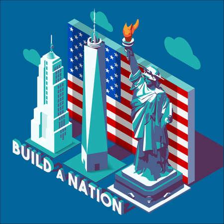 statue: Liberty Statue Isometric 3D Flat Landmark NYC New York Manhattan Usa Buildings Map Elements Bright Colors Design. Build a Nation Slogan Banner Template Web Mockup Illustration Concept