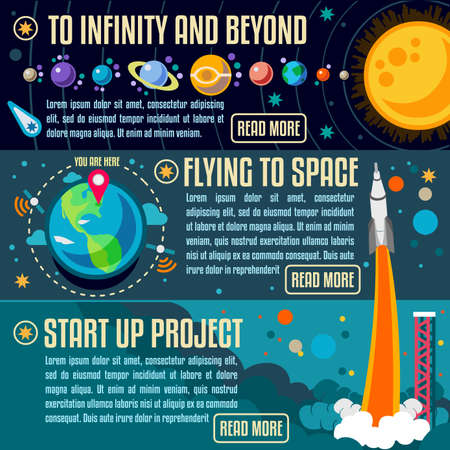 New Horizons The Big Bang Theory Banner Infographic. NEW bright palette 3D Flat Vector Icon Set Universe Planets Space Rocket Earth Startup Project Concept for Web Template Mockup Illustration