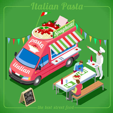 template: Italian Pasta Food Truck. Delivery Master. Street Food Chef Web Template. NEW bright palette 3D Flat Vector Icon Set Isometric Food Truck. Full of Taste High Quality Dishes Alternative Street Cuisine