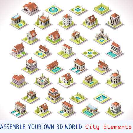 tiles: City Building Villas Private Estate Tiles MEGA Collection Italian Venice Luxury Hotel Gardens and Other Isometric 3d Urban Map Elements Set of Game Tiles