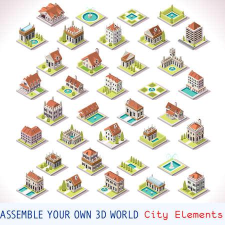 edificios: Construcci�n de la Ciudad villas privadas ra�ces Azulejos MEGA Colecci�n italiana de Venecia Luxury Hotel Gardens y Otros isom�trica 3D Mapa Urbano Conjunto de elementos de juego Azulejos