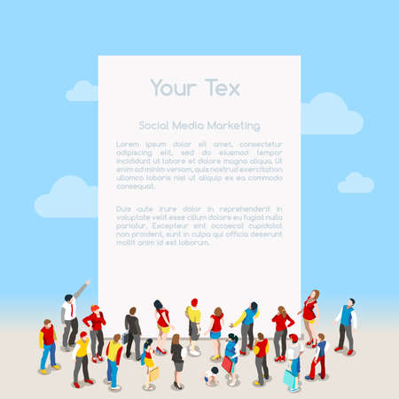 interacting: Blank Banner Template with Crowd. Interacting People Unique Isometric Realistic Poses. NEW bright palette 3D Flat Vector Isometric Set