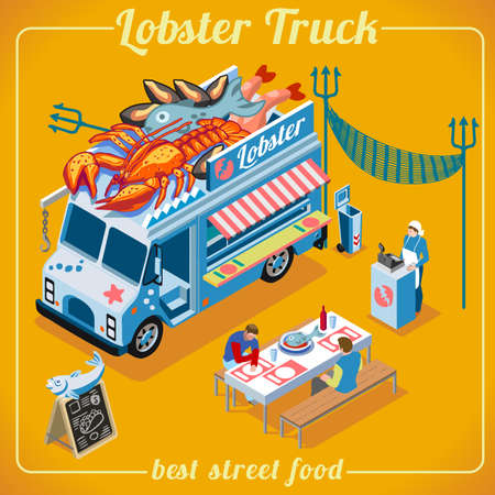 lobster: Fresh Lobster Food Truck. Delivery Master. Street Food Chef Web Template. NEW bright palette 3D Flat Vector Icon Set Isometric Food Truck. Full of Taste High Quality Dishes Alternative Street Cuisine Illustration