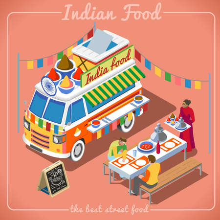 Indian Spicy Food Truck. Delivery Master. Street Food Chef Web Template. NEW bright palette 3D Flat Vector Icon Set Isometric Food Truck. Full of Taste High Quality Dishes Alternative Street Cuisine