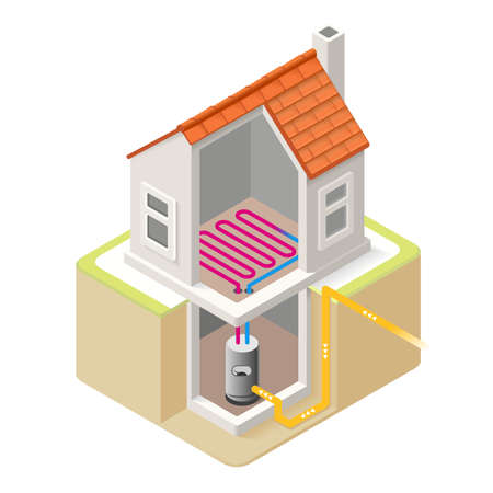 floor heating: House Boiler Floor Heating Infographic Icon Concept. Isometric 3d Soften Colors Elements. Electric Boiler Heat Providing Chart Scheme Illustration