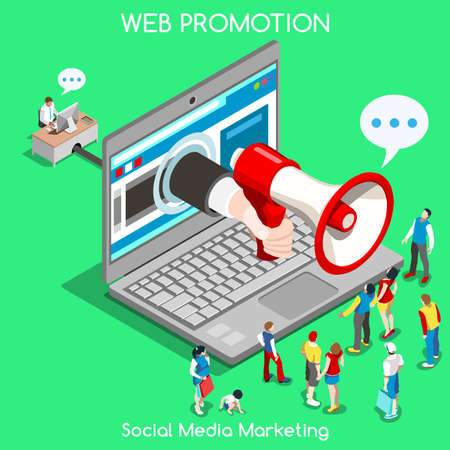 tecnology: Social media marketing Concept. Interacting People Unique Isometric Realistic Poses. NEW bright palette 3D Flat Vector Icon Set. Online Promotion Web Advertisement Banner Template Mockup Illustration