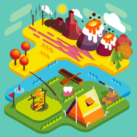 water park: National Park Mountain Camping Landscape. NEW bright palette 3D Flat Vector Isometric Set. Tent near the River Best Autumnal Vacations