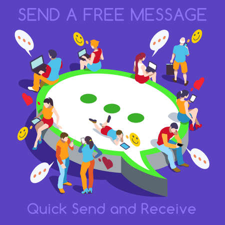 realtime: Online Realtime Chat Collection. Interacting People Unique Isometric Realistic Poses. NEW bright palette 3D Flat Vector Icon Set. Free Web Communication with Personal Devices