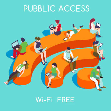 public: Wi-Fi Free Public Hotspot Zone Wireless Internet. Connection Interacting People Unique Isometric Realistic Poses. NEW bright palette 3D Flat Vector Icon Set. People with Personal Devices and WiFi Icon