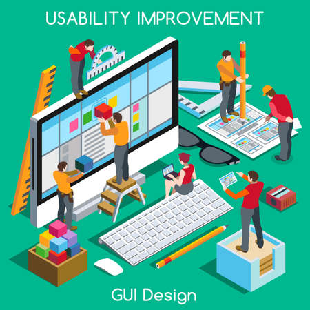 개념: 사용성에 대한 GUI 디자인 및 사용자 환경 개선. 상호 작용하는 사람들의 고유 아이소에게 현실적인 포즈. 새로운 밝은 팔레트 3D 평면 벡터 개념. 멋진 웹 그래픽 사용 일러스트