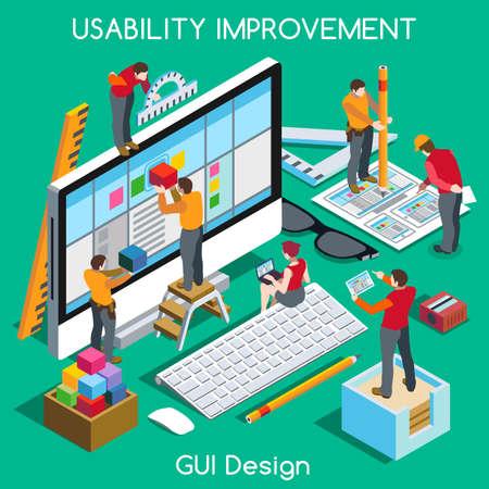 Diseño de interfaz gráfica de usuario para la usabilidad y experiencia de usuario de Mejoramiento. Interacción Gente único isométrica Poses realistas. NUEVA gama de colores brillantes 3D Concept Vector plana. Equipo de Creación de Gran gráfico de usuario Web Interfac