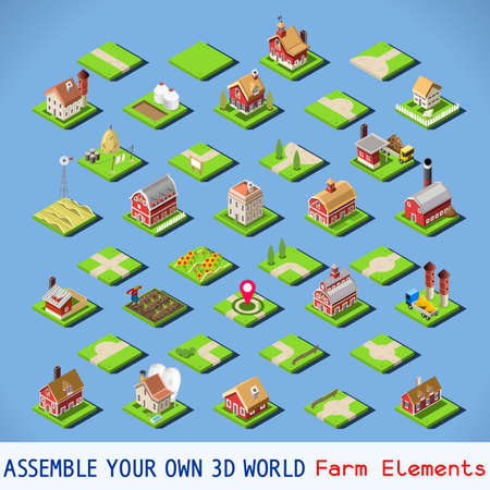 City Map Elements COMPLETE and TESTED Set. NEW bright palette 3D Flat Vector Icon Set. Rural Road Farm Building Isolated Vector Collection. Assemble Your Own 3D World Vectores