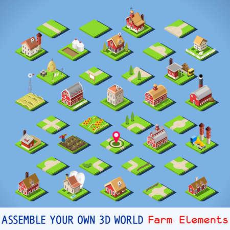 jeu: Plan de la ville éléments complets et testés Set. Nouvelle palette lumineuse 3D plat Vector Icon Set. Rurales isolées Route construction des bâtiments agricoles vectorielle Collection. Assemblez votre monde 3D propre