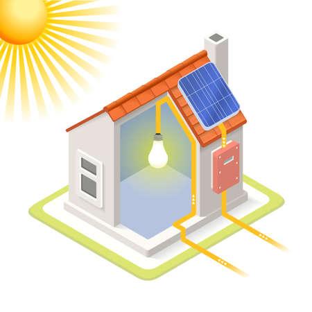 청정 에너지 하우스 태양 전지 패널 인포 그래픽 아이콘 개념입니다. 아이소 메트릭 색상 요소를 부드럽게 차원. 전기 전원 제공 차트 계획의 그림