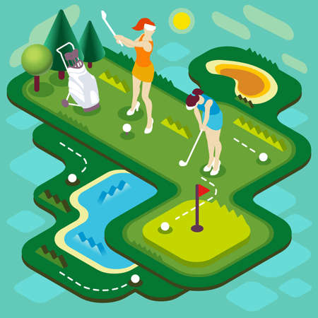 Golf Sport Match Concept. Interacting People Unique Isometric Realistic Poses. NEW bright palette 3D Flat Vector Illustration. Golf Club Players with Stroke Ball Course or Professional Competition