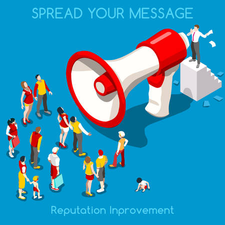 marketing target: Social Web Promotion Interacting People Unique Isometric Realistic Poses. NEW bright palette 3D Flat Vector Icon Set. Online Communication Marketing Technology Concept. Businessman Megaphone and Crowd