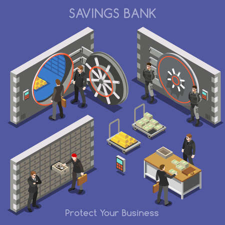 Bank Vault Building Floor Interior Detail Elements. Interacting People Unique Isometric Realistic Poses. NEW bright palette 3D Flat Vector Isometric Set. Counter vault jewellery currency valuables  イラスト・ベクター素材