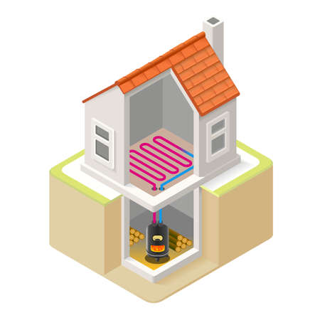 floor heating: House Wood Boiler Floor Heating Infographic Icon Concept. Isometric 3d Soften Colors Elements. Wood Boiler Heat Providing Chart Scheme Illustration