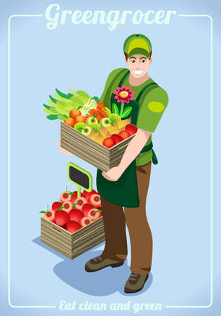 greengrocer: Greengrocer Fresh Food Agriculture logo Company Grocery Careers. People Unique Isometric Realistic Poses. NEW bright palette 3D Flat Vector Icon Set. Farming Collection Mockup Template
