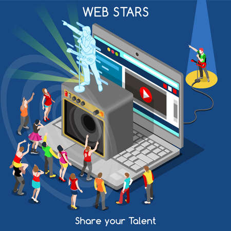 Indie Music Webstar Pop Rock Band Song. Interacting People Unique Isometric Realistic Poses. NEW bright palette 3D Flat Vector Icon Set. Laptop Web Superstar Creative Talent Show Concept Illustration