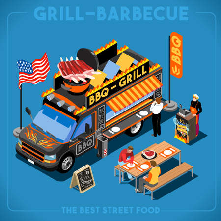 food: BBQ Passion Food Truck. Delivery Master. Street Food Chef Web Template. NEW bright palette 3D Flat Vector Icon Set Isometric Food Truck. Full of Taste High Quality Dishes Alternative Street Cuisine