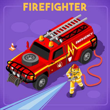 firefighter: Los bomberos con la boca de riego Conjunto 01. Interactuando Gente �nico isom�tricos Poses realistas. NUEVO brillante paleta plana 3D Vector Icon Set Ilustraci�n