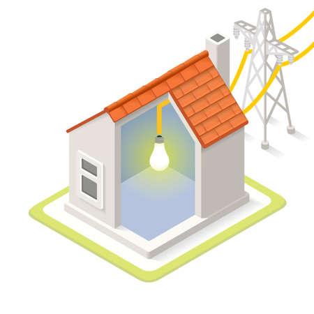 전기 그리드 인포 그래픽 아이콘 개념입니다. 아이소 메트릭 색상 요소를 부드럽게 차원. 전기 전원 제공 차트 계획의 그림