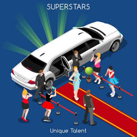 limousine: Superstar or Starlet Famous Female Young Girl with Bodyguards. Interacting People Unique Isometric Realistic Poses. NEW bright palette 3D Flat Vector Icon Set. Red Carpet Unique Talent Show