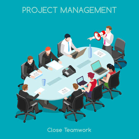 Startup Teamwork Brainstorming Office Meeting Room. Interacting People Unique Isometric Realistic Poses. NEW bright palette 3D Flat Vector Icon Set. Setting New Goals