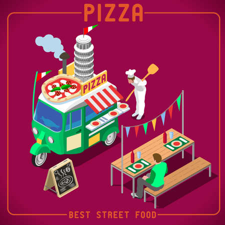 3d pizza: Italian Pizza Food Truck. Delivery Master. Street Food Chef Web Template. NEW bright palette 3D Flat Vector Icon Set Isometric Food Truck. Full of Taste High Quality Dishes Alternative Street Cuisine Illustration