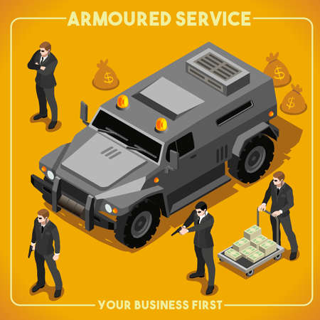 security officer: Armoured Service Heavy Armored Vehicle and Security Detail Body Guard. NEW bright palette 3D Flat Vector Isometric Set. Illustration