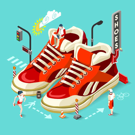 stuff: Shopping Addiction Shoes Sale. NEW bright palette 3D Flat Vector Icon Set Isometric Concept Template. Huge Oversized red Sneakers with Casual Sport Micro People