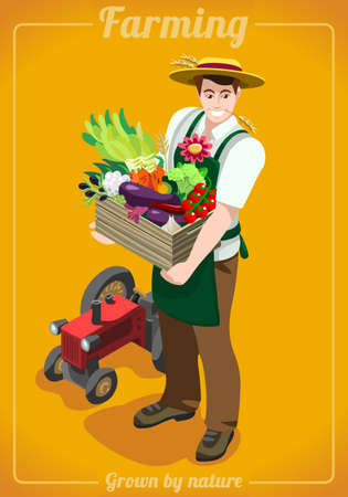 greengrocer: Greengrocer Farmer Fresh Food Agriculture logo Company Grocery Careers. People Unique Isometric Realistic Poses. NEW bright palette 3D Flat Vector Icon Set. Farming Collection Mockup Template Illustration