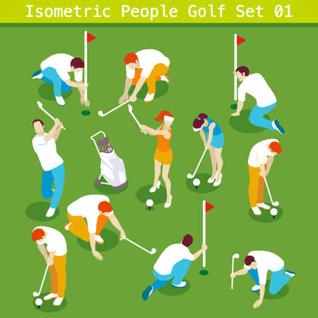 Sport Golf Players Set 01. Interacting People Unique Isometric Realistic Poses. NEW bright palette 3D Flat Vector Icon Collection. Golf Course or Professional Competition Assemble your Own 3D World