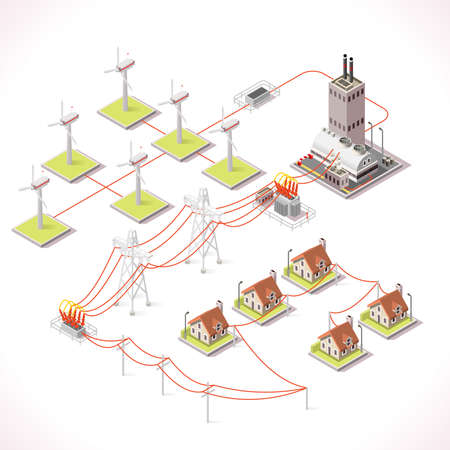 power distribution: Clean Energy Distribution Chain Infographic Concept. Isometric 3d Electricity Grid Elements Windmil Turbine Power Grid Powerhouse Transformer Providing Electricity Supply to the City Buildings
