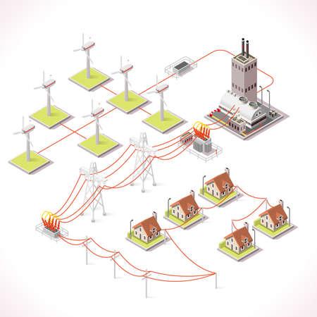 Czyste dystrybucji energii Łańcuch Infograficzna Concept. Izometrycznej 3d sieci elektroenergetycznych Elementy Windmil Turbine Sieci Elektroenergetyczne Powerhouse Transformer Zapewnienie dostaw energii elektrycznej do budynków miasta