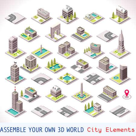 edificio: Edificios de la ciudad o lugar de referencia Azulejos MEGA Tiendas de recogida y Otros isométrica 3D Mapa Urbano Elementos Conjunto de Azulejos del juego