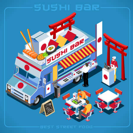 food industry: Japanese Wok Sushi Food Truck Delivery Master. Street Food Chef Web Template NEW bright palette 3D Flat Vector Icon Set Isometric Food Truck Full Taste High Quality Dishes Alternative Street Cuisine