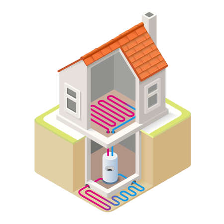 HOUSES: House Boiler Floor Heating Infographic Icon Concept. Isometric 3d Soften Colors Elements. Boiler Ground Heating Providing Chart Scheme Illustration